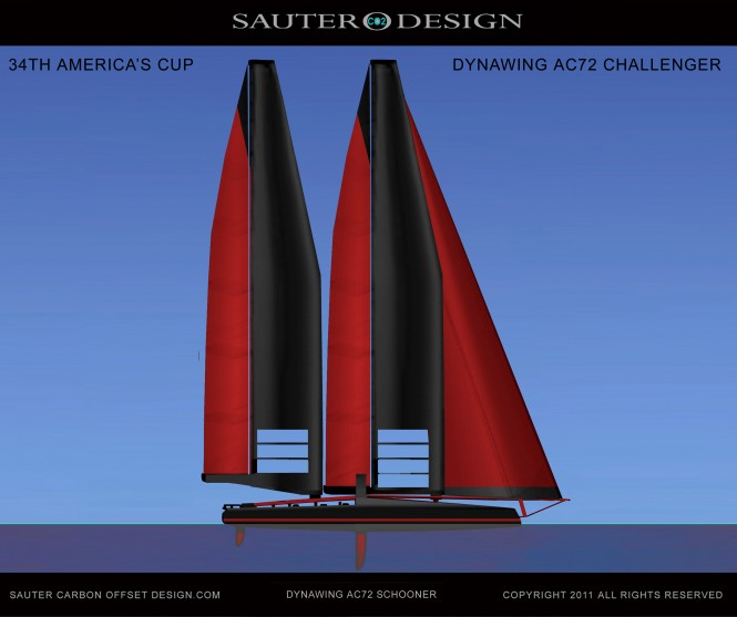 Sauter Carbon Offset Design DynaWing AC72 Schooner for the 34th America's Cup Challenger Catamaran