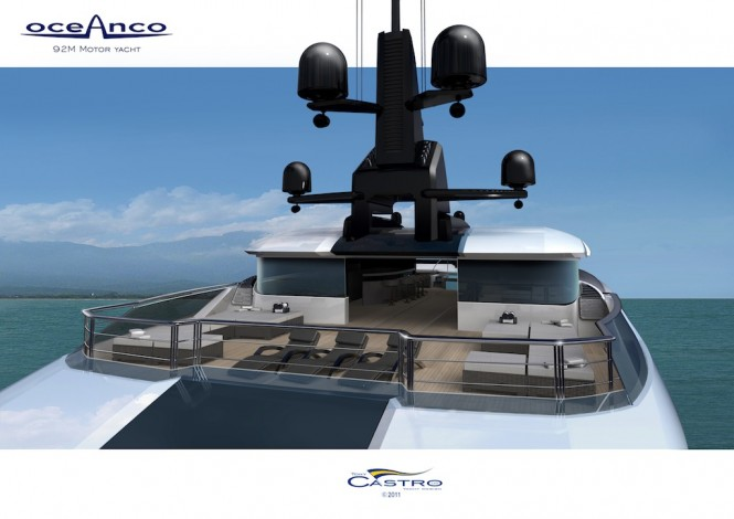 Sky deck view of the superyacht PA153 92M Tony Castro for Oceanco