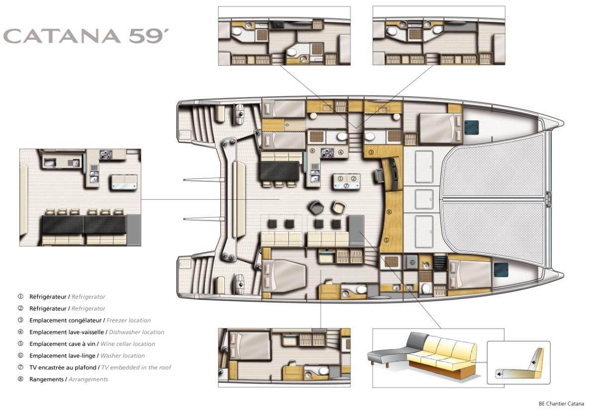 The New Catana 59 Sailing Catamaran Layout Yacht Charter