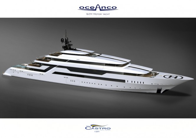 White version of the 92M PA153 mega yacht for Oceanco by Tony Castro