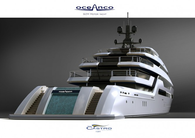White version of the 92m PA153 superyacht by Tony Castro - Transom view