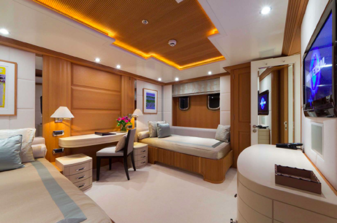 Twin guest cabin - Troyanda superyacht - Photographer: Marc Paris