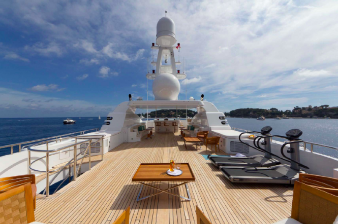 Outdoor gym and entertainment area - Troyanda Superyacht by Feadship  - Photographer: Marc Paris