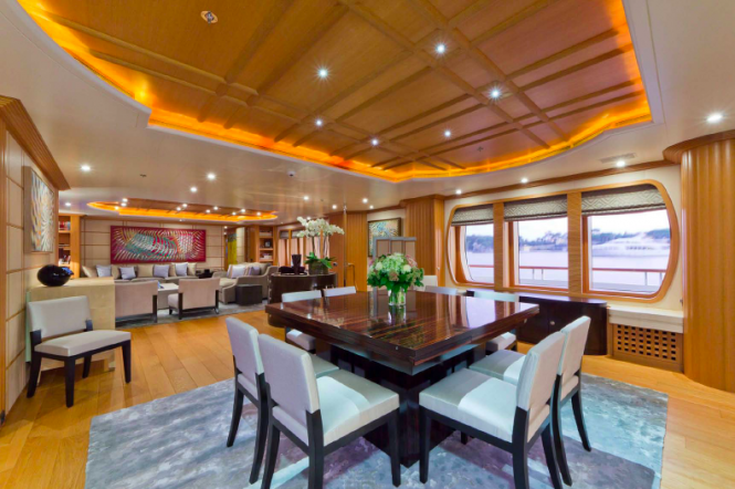 Dining area - charter yacht Troyanda - Photographer: Marc Paris