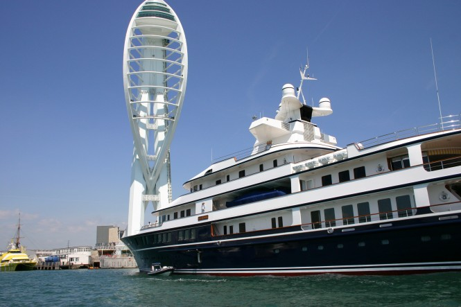 75m superyacht Leander at Gunwharf Quays