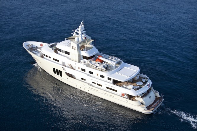 Bird's view of the E&E expedition yacht by Cizgi Yachts designed by Vripack