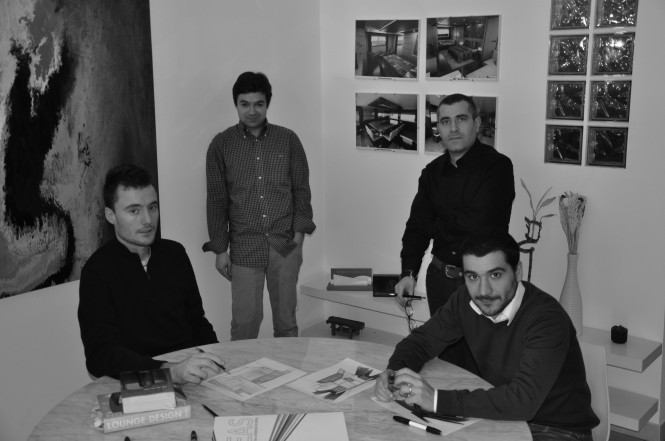 Four members of the  Hot Lab yacht design team in Milan - from left: Michele Dragoni, Antonio Romano, Antonio Scognamiglio and Enrico Lumini