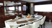 Dining table on board of the RP 110 Horizon motor yacht Lady Gaga