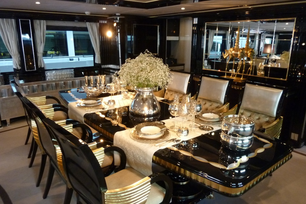 yacht alexander again luxurious dining table photo alessio baleri