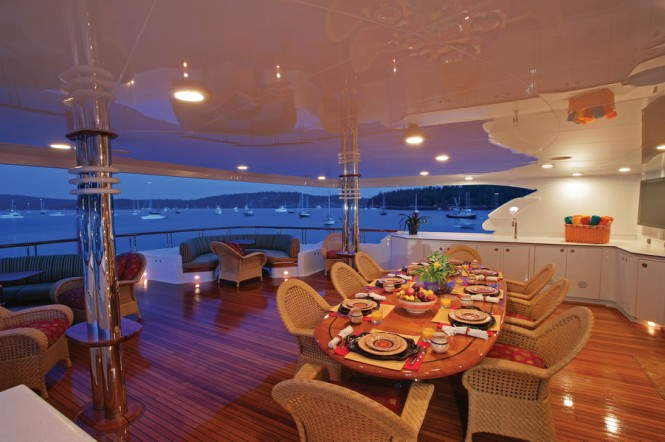 Newport Charter Yacht Show on-deck living spaces aboard superyacht Lia Fail  (credit Billy Black)