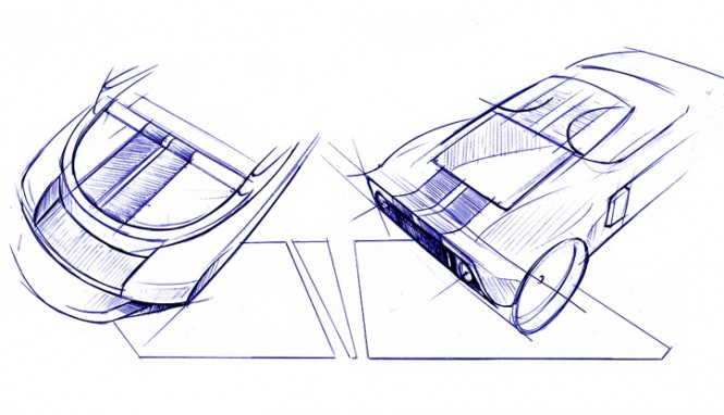 Racing car inspired drawings by Hot Lab yacht design studio