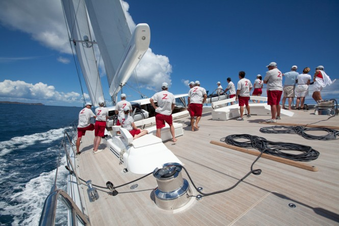 Sailing yacht Zefira racing off Virgin Gorda - Photo Credit Superyacht Media
