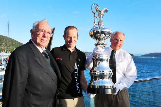 The America's Cup welcomed to Audi Hamilton Island Race Week by Bob Oatley, Jimmy Spithill, and Iain Murray. Photo by Andrea Francolini Audi image