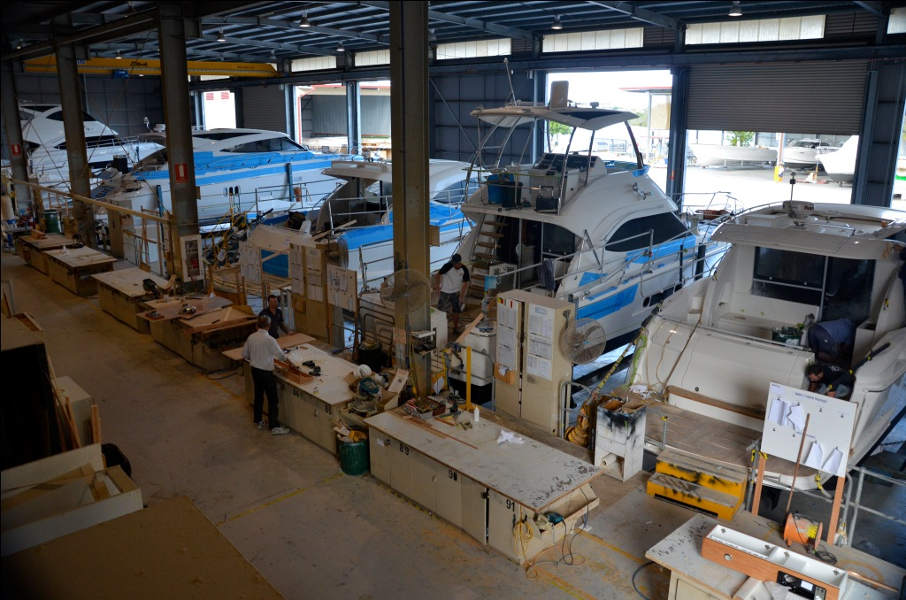 The Riviera factory is a hive of activity with 32 boats currently under ...