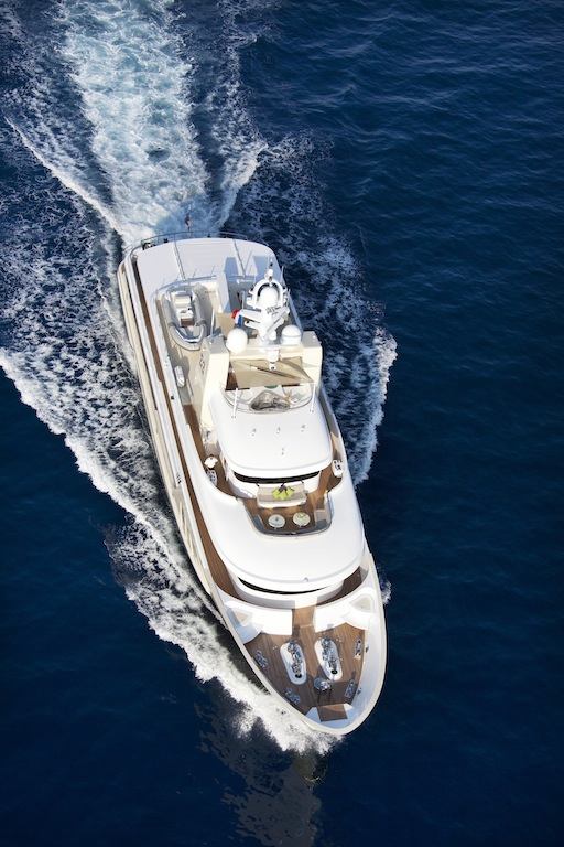 View from the top at the E&amp;E charter yacht designed by Vripack with interior by Art-Line Interiors