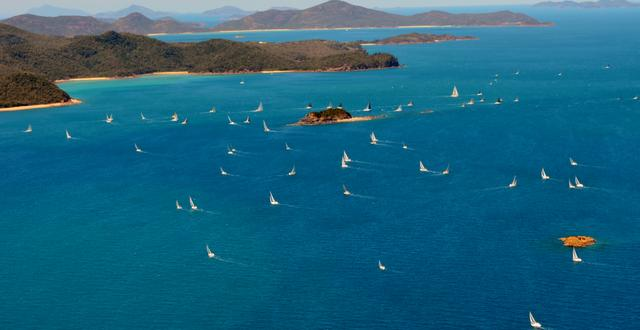 View of the fleet at Audi Hamilton Island Race Week - Day 2 - Sunday 21 August 2011. Photo by Hamilton Island Photography.
