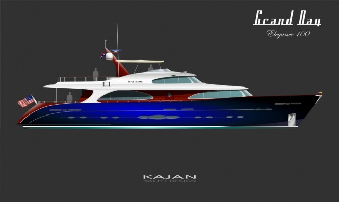 100 luxury motor yacht ELEGANCE - blue retro