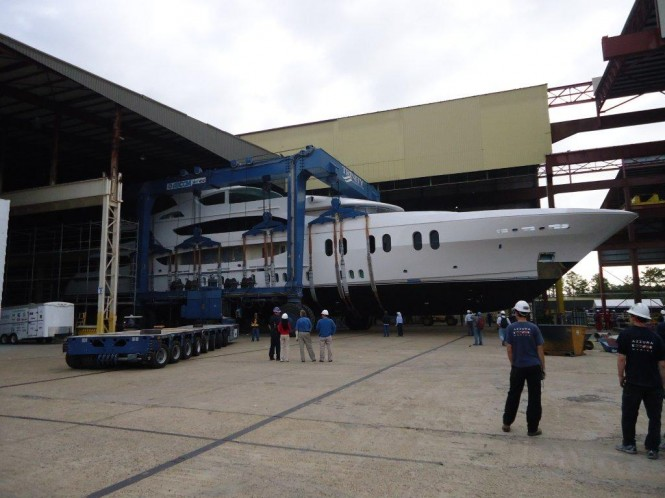 57m motor yacht Lady Linda by Trinity Yachts being launched