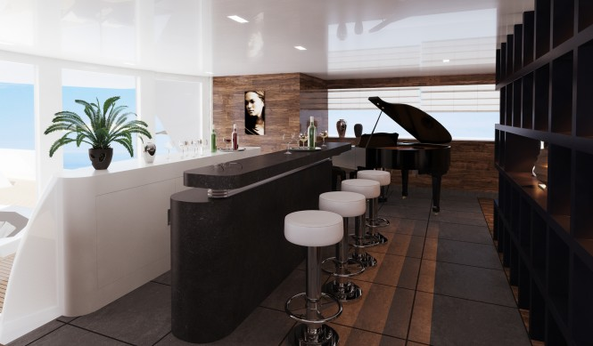 Bar on board of the 75m motor yacht R & R