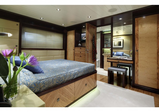 Donald Starkey designed guest cabin on board of the Columbus 146 yacht by Broward yachts