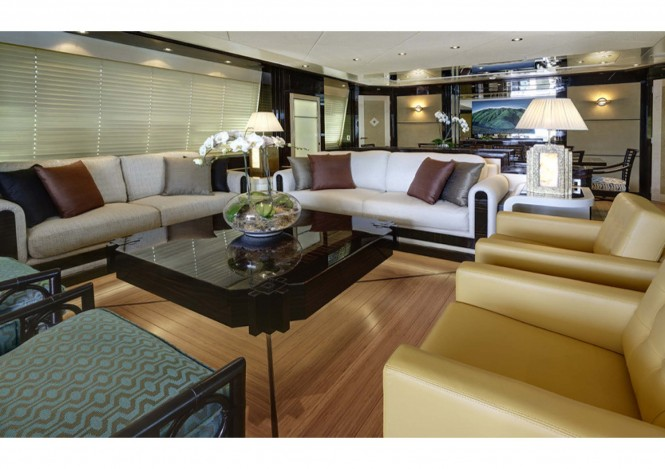 Donald Starkey designed main saloon - Broward expedition yacht Columbus 146