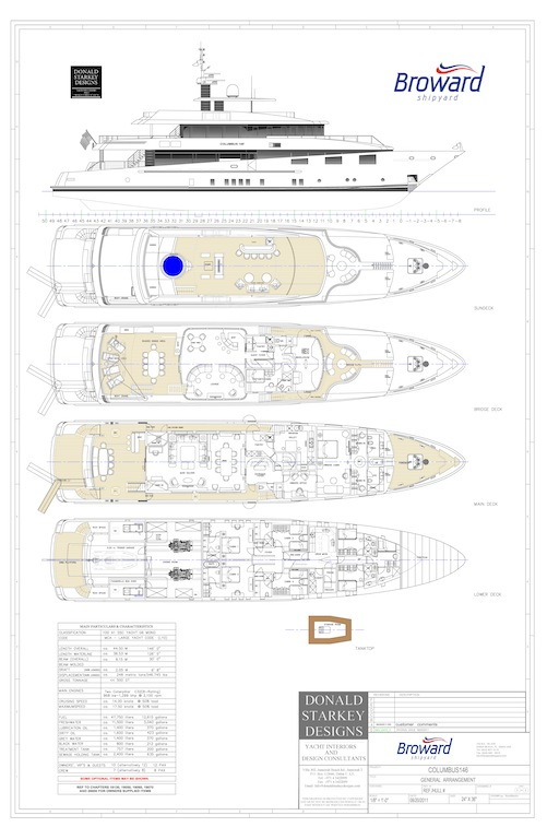 General arrangement of the Columbus 146 expedition yacht by Broward Yachts