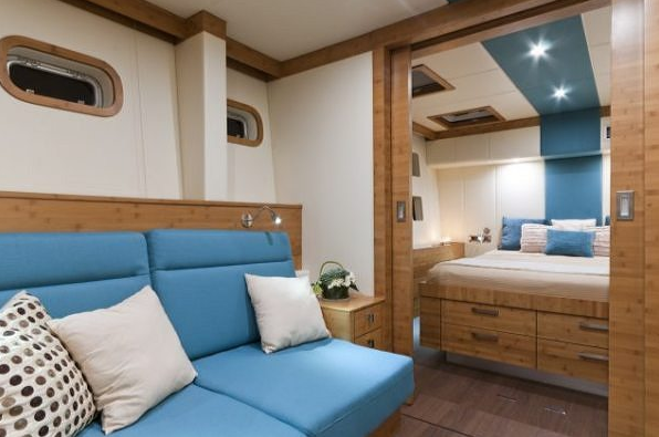 Interior of the superyacht Anini a Sunreef 70 catamaran