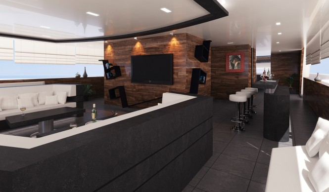 Lounge and bar on the luxury yacht R & R