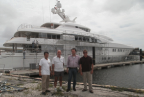 Motor yacht Lime Light (ex charter yacht Linda Lou) at Broward Shipyard