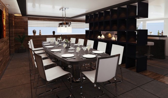 Nick Mezas luxury yacht R & R - a dining room