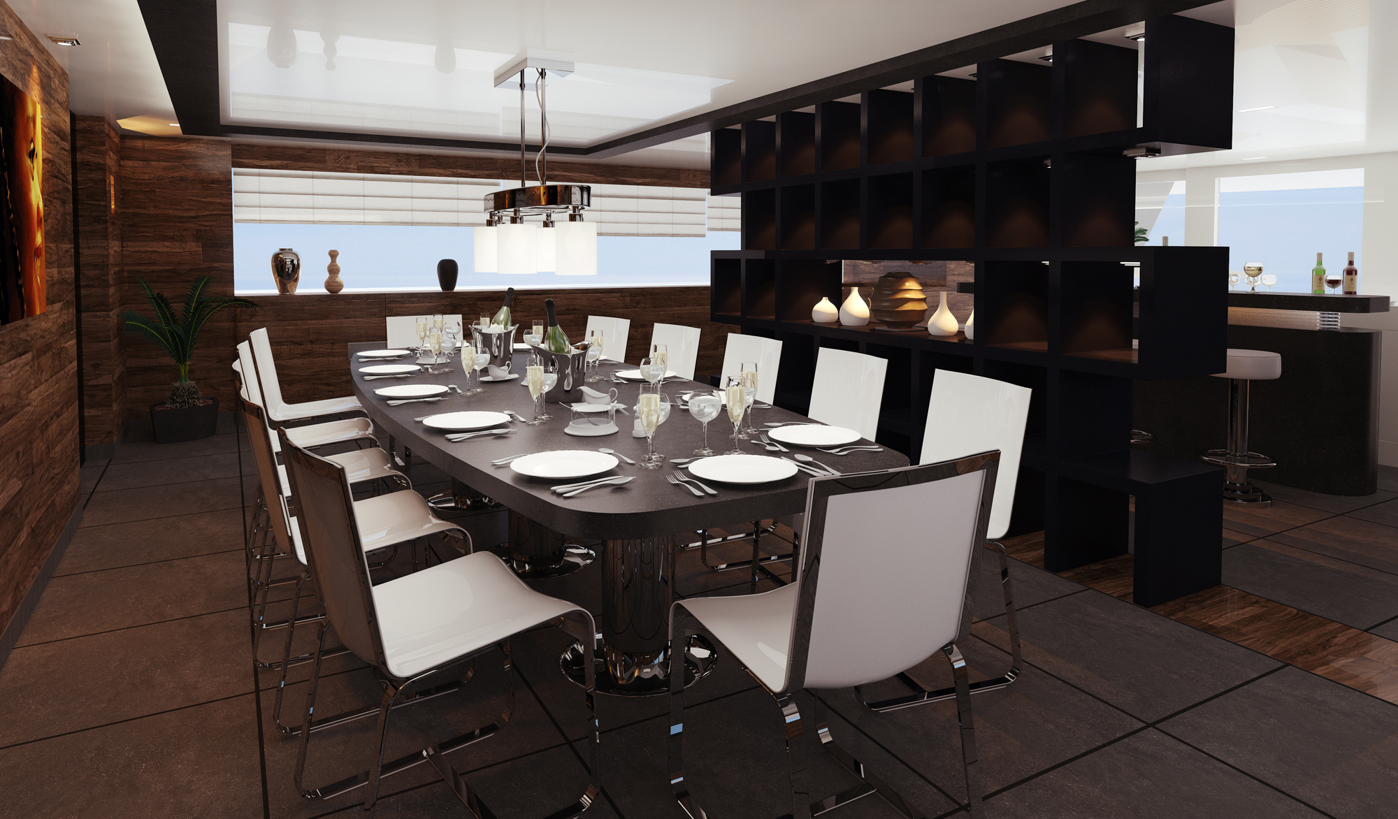 Nick Mezas luxury yacht R & R - a dining room — Luxury Yacht ...
