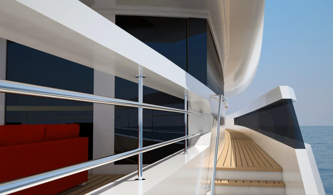On board of the 49m Nick Mezas luxury yacht