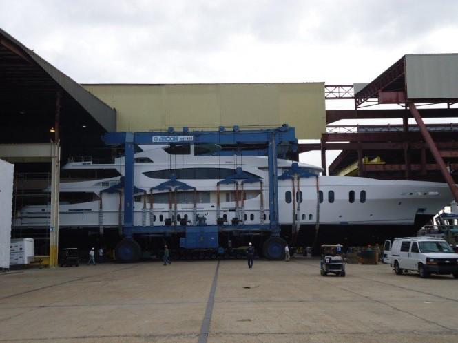 The luxury yacht Lady Linda Trinity Yachts ex T050 Nears the Water