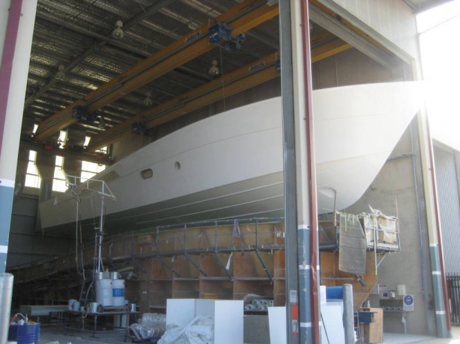 The new 23m motor yacht 75 Enclosed Flybridge hull is the largest ever built ...