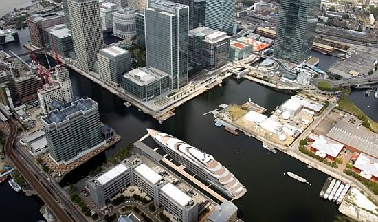 170m luxury motor yacht Aquiva moored in Canary Wharf