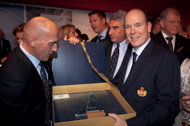 Super yacht Esimit Europa 2's Owner Igor Simcic and HSH Prince Albert II - Gift