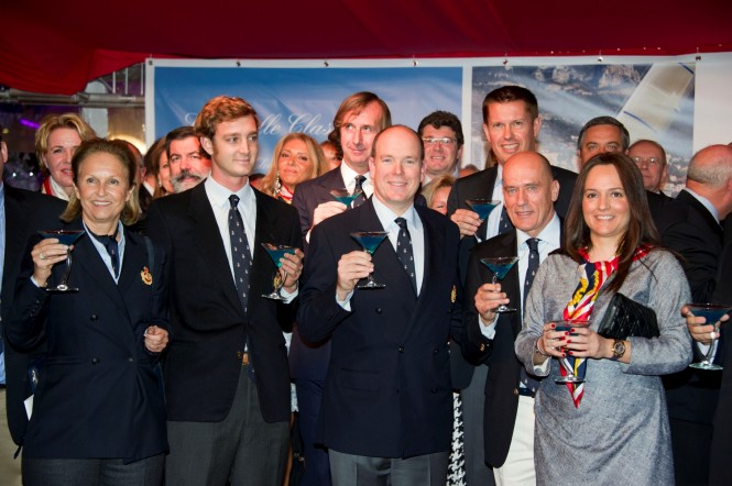 Toast to the new members (Pierre Casiraghi, Prince Albert II and Igor Simcic in the front line)