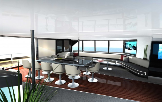 40m Porsche Design Catamaran Yacht - Main Salon