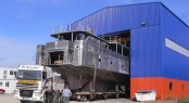 Alu Marine 33m Superyacht being taken out of the shipyard