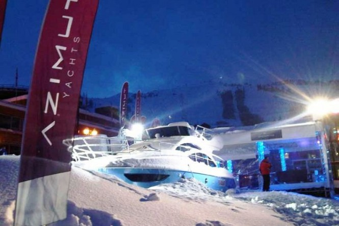 Azimut 40 motor yacht on the mountains of Courchevel, France for World Cup ...