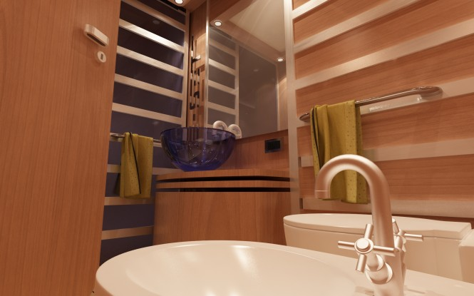 Bathroom on board Fjm Powerdesign yacht Re-Set