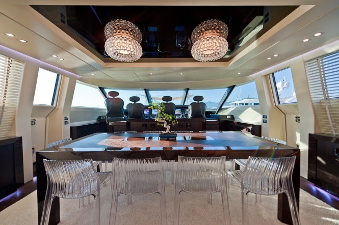 Dining on board the stunning Blue Force One yacht - Credit to AB Yachts