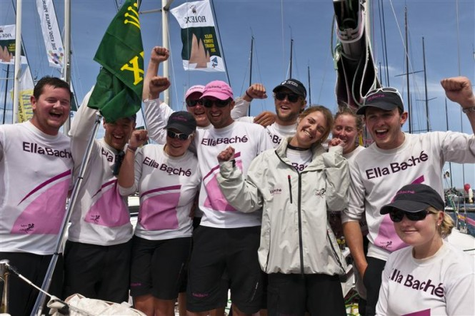ELLA BACHE arriving in Hobart with Jessica Watson and the youngest ever crew to contest the race Photo K. Arrigo