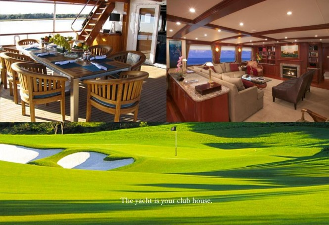 Imagine superyacht Stargazer as your floating golf clubhouse
