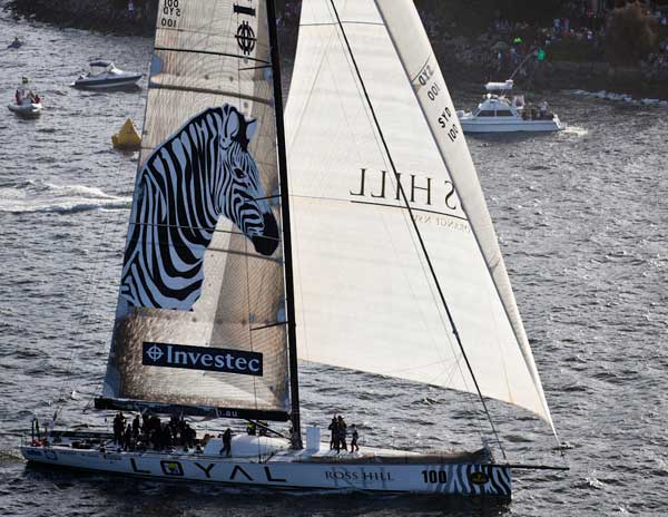 Super yacht Investec Loyal takes the finish cannon Photo D. Foster