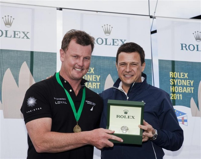 Line Honours Prizegiving Ceremony Anthony Bell, owner of INVESTEC LOYAL and Patrick Boutellier, Rolex Australia  Photo D. Foster