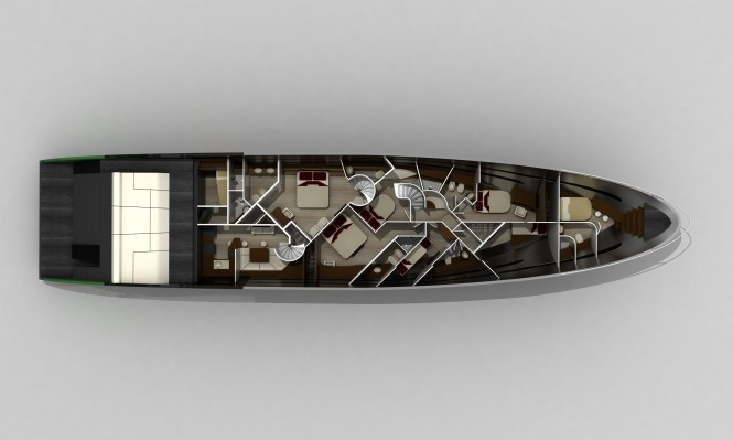 Lower Deck of the Blunt 118 Superyacht
