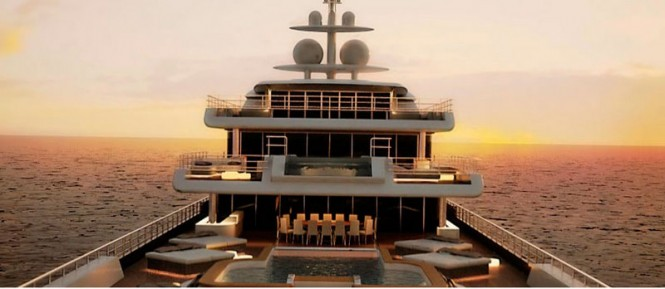 Luxurious exterior of the Kaiser-75 Superyacht