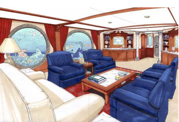 Luxurious interior of the Phoenix 1000 undersea superyacht