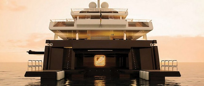 Luxury motor yacht Kaiser-75 - rear view